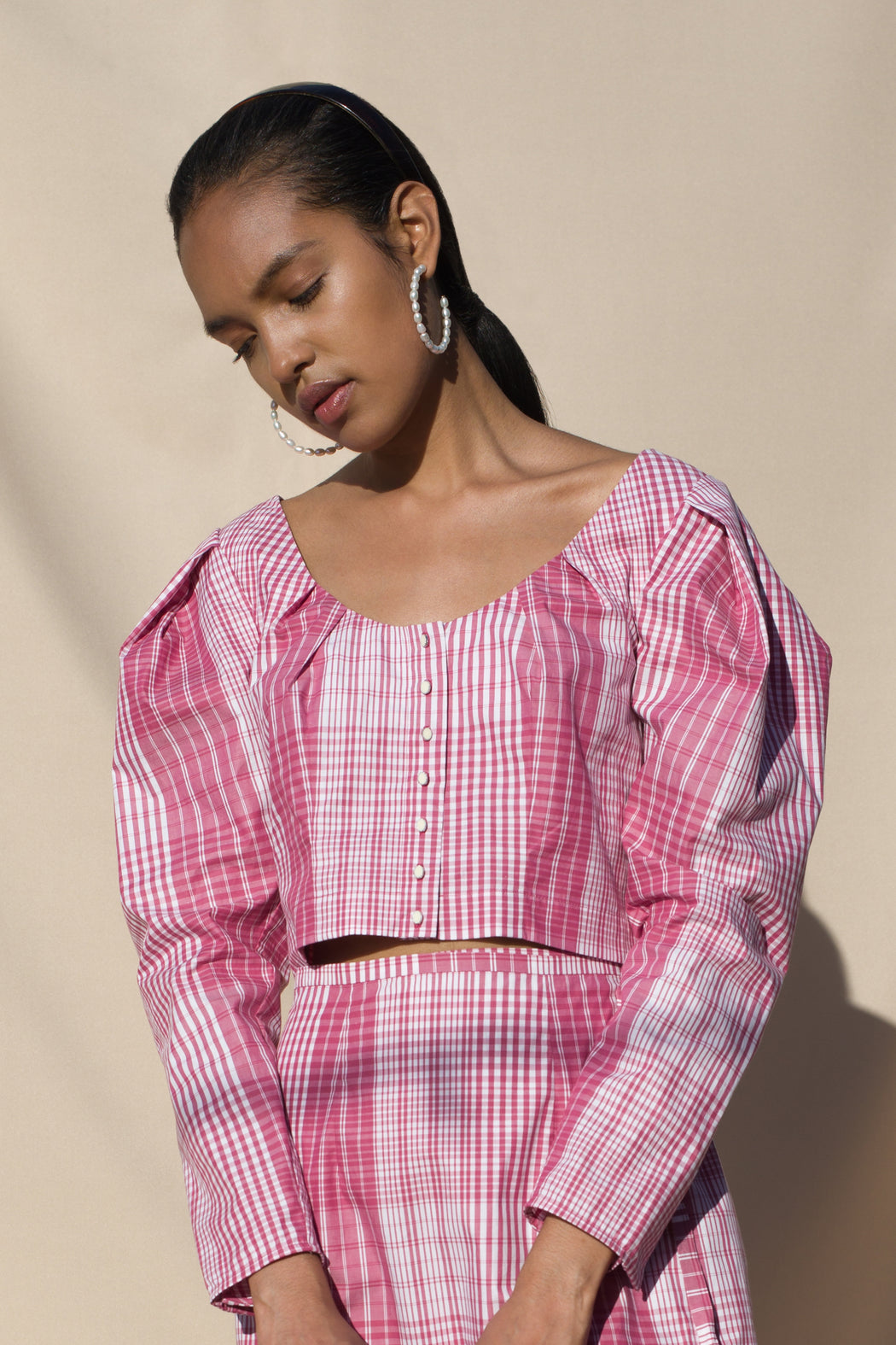 Paros Blouse - Radish Plaid Poplin