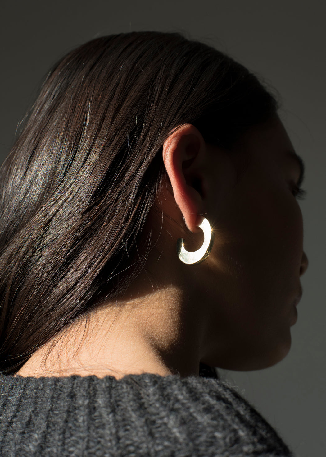 Sculptural Medium Hoops - Sterling Silver