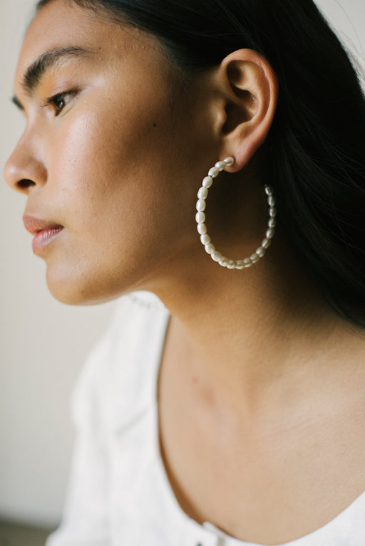 Rani Large Hoops - Sterling Silver / Pearls