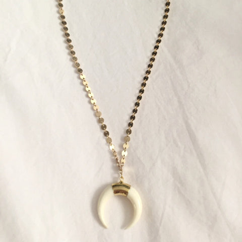 Double Disk Necklace White
