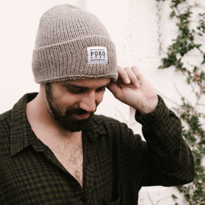 pokoloko-alpaca-fisherman-hat-clay-beige-color-on-male-model-side-profile-photo-lifestyle