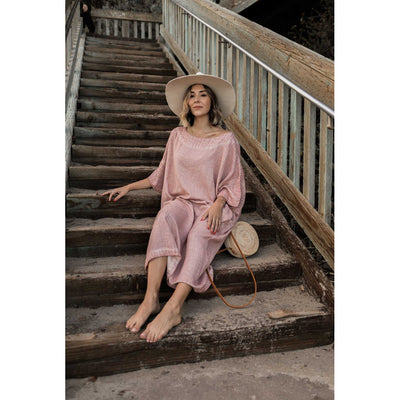 pokoloko-womens-classic-dress-rose-sitting-on-stairs-at-beach-bali-bag-tan