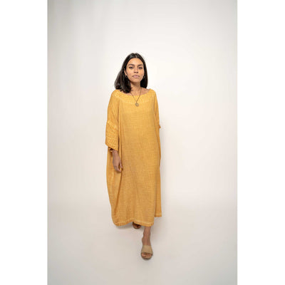 pokolok-womens-classic-dress-mustard-studio-full-front-walking-waering-sandals
