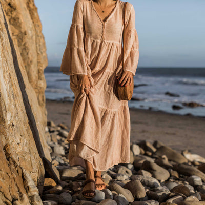 pokoloko-womens-long-dress-simply-taupe-editorial-cropped-showing-dress-and-bali-bag-caramel-v-neck-bell-sleeves-a-line
