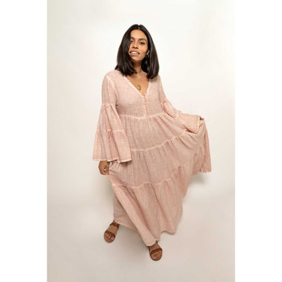 pokoloko-womens-long-dress-simply-taupe-studio-full-looking-at-camera-v-neck-bell-sleeve-a-line