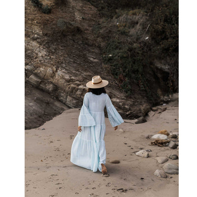 pokoloko-womens-long-dress-soft-mint-walking-on-beach-back-view-bell-sleeves-a-line-wide-brim-hat-barefoot