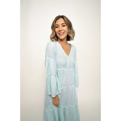 pokoloko-womens-long-dress-soft-mint-studio-smiling-facing-camera-v-neck-bell-sleeves