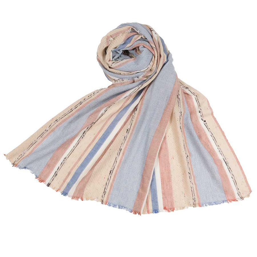 mixed-striped-scarves-draped-over-half-wall-pokoloko