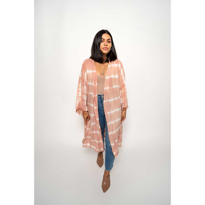 pokoloko-mid-length-indonesian-kimono-pink-pom-pom-colour-front-shot