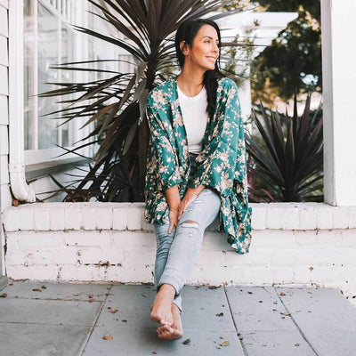 open-kimono-floral-teal-on-model-sitting-on-stoop-pokoloko