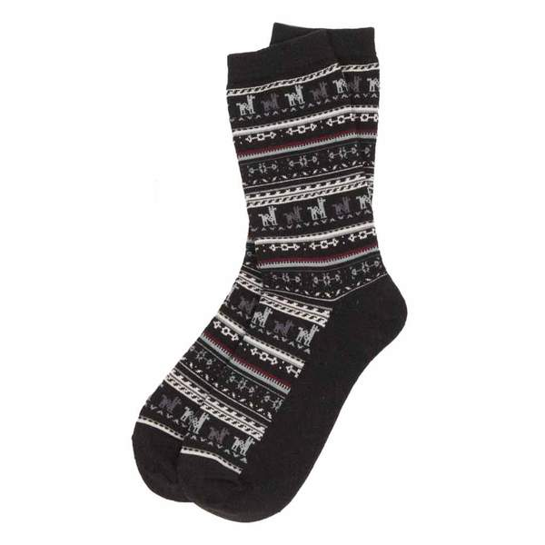 black-alpaca-print-sock-pokoloko-pair-on-bed