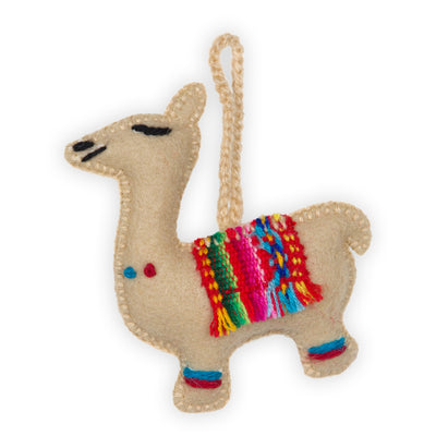 Hand-Embroidered Ornament - Llama