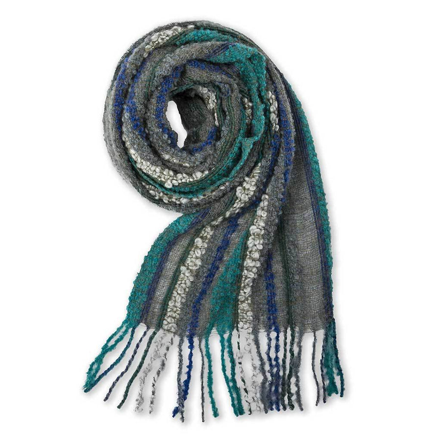 Baby Alpaca Boucle Scarf - Light Blue and Grey