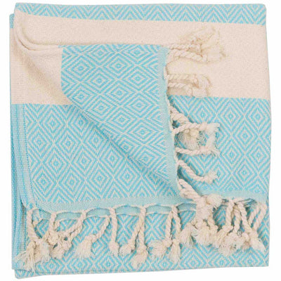 aqua-blue-turkish-hand-towel-diamond-pattern-pokoloko