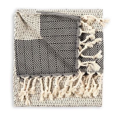 pokoloko-lined-diamond-cotton-hand-kitchen-turkish-towel-black-carbon-color-folded-in-studio-w-corner-flipped