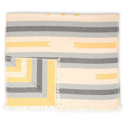 pokoloko-ribbon-jacquard-towel-yellow-color-wide-fold-with-flipped-corner
