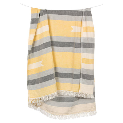 pokoloko-ribbon-jacquard-towel-yellow-color-hanging-from-rope