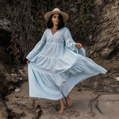 pokoloko-womens-long-dress-soft-mint-standing-on-beach-flowing-dress-v-neck-bell-sleeves-a-line-wide-brim-hat