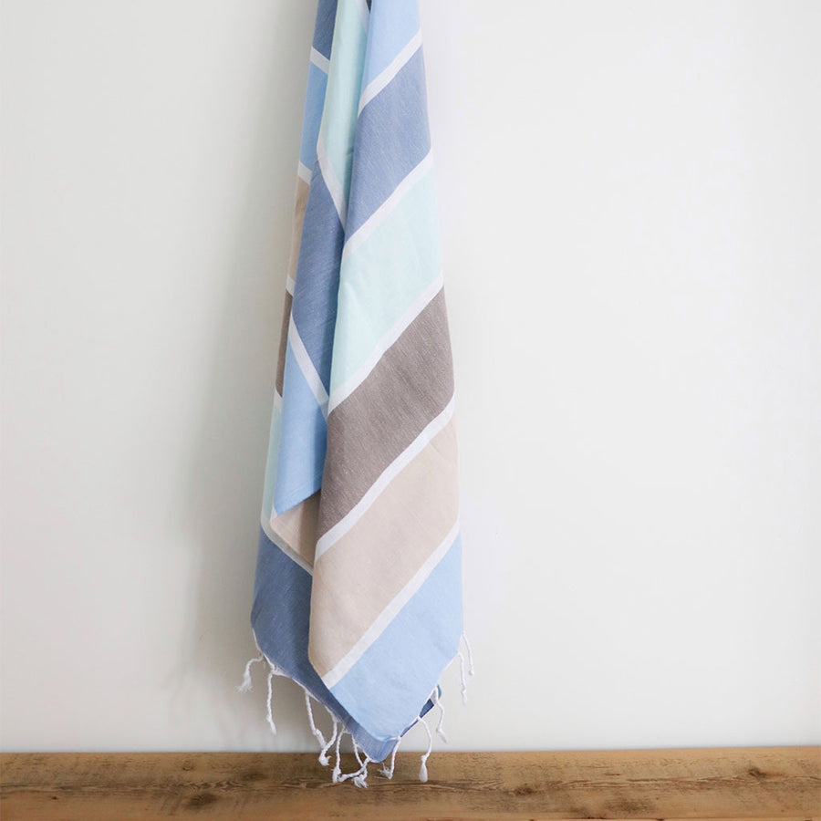 pokoloko-thick-stripe-turkish-towel-water-color-flat-folded-with-flipped-corner