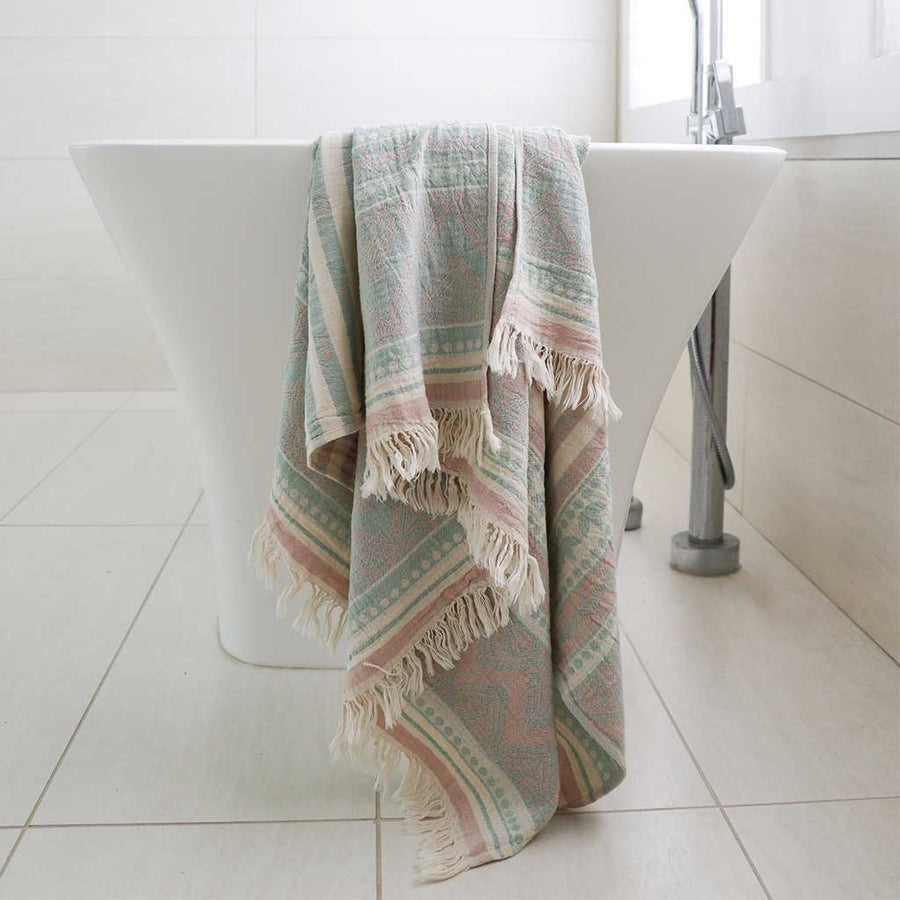 pokoloko-zora-jacquard-turkish-towel-pink-sage-folded-with-corner-flipped