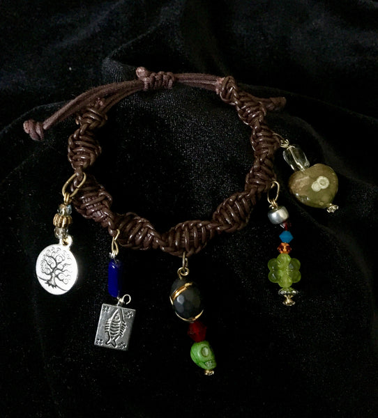 Woven Leather Bible Bracelet with Colorful Charms