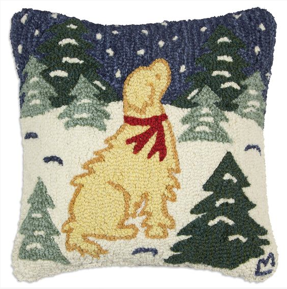 Golden in Snow Pillow