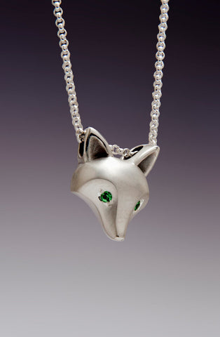 Sterling Silver Fox Pendant with with Tsavorite Garnet Eyes - True North Gallery
