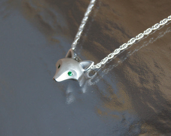 Sterling Silver Fox Pendant with with Tsavorite Garnet Eyes
