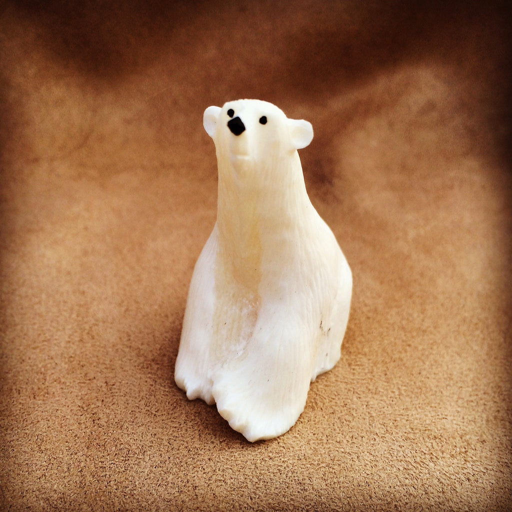 Sitting Polar Bear Carving - True North Gallery