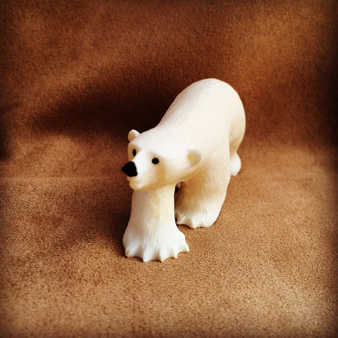 Walking Polar Bear Carving