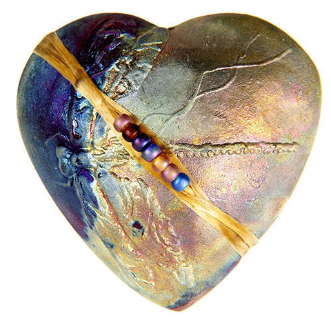 Raku Heart Rattle with Dragonfly