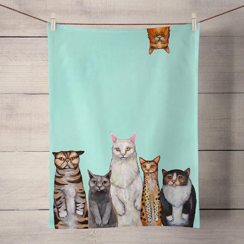Eli Halpin Tea Towel: Cats - True North Gallery