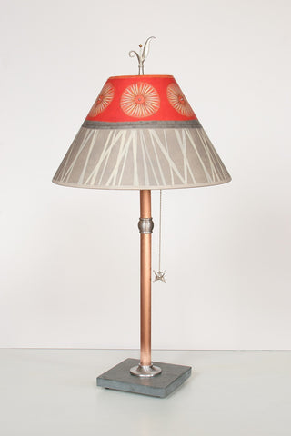 "Copper Table Lamp with Medium Conical-Shade in ""Tang"" Design - True North Gallery"