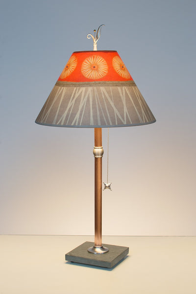 "Copper Table Lamp with Medium Conical-Shade in ""Tang"" Design"