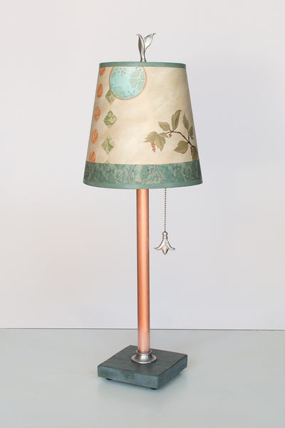 Copper Table Lamp with Small Drum Shade in Celestial Leaf - True North Gallery