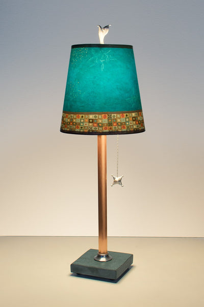 Copper Table Lamp with Small Drum Shade in Jade Mosaic