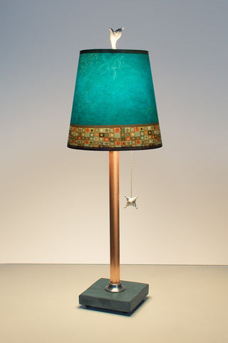 Copper Table Lamp with Small Drum Shade in Jade Mosaic - True North Gallery