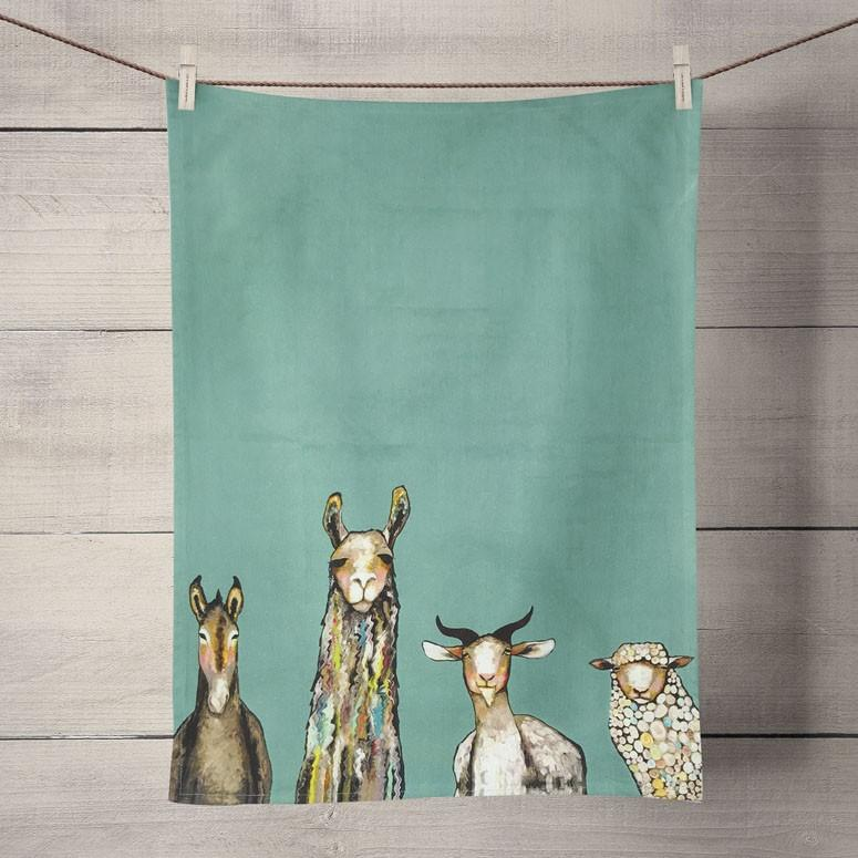 Eli Halpin Tea Towel: Donkey, Llama, Goat & Sheep - True North Gallery