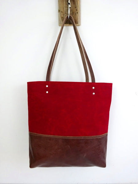 Red Waxed Canvas Tote - True North Gallery