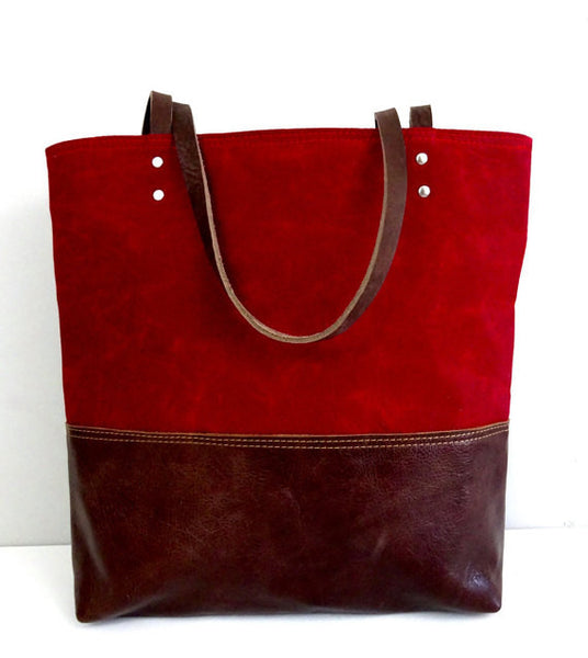 Red Waxed Canvas Tote