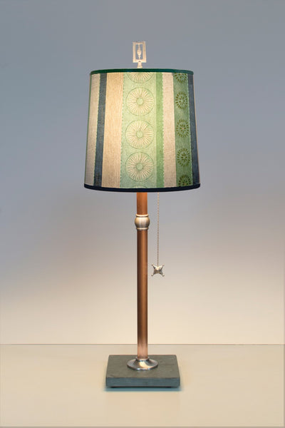 Copper Table Lamp with Medium Drum Shade in Serape Waters - True North Gallery