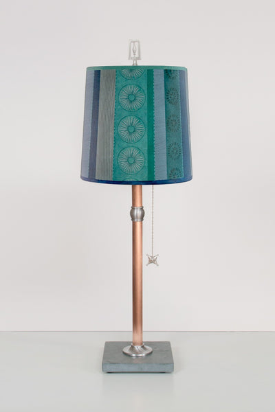 Copper Table Lamp with Medium Drum Shade in Serape Waters