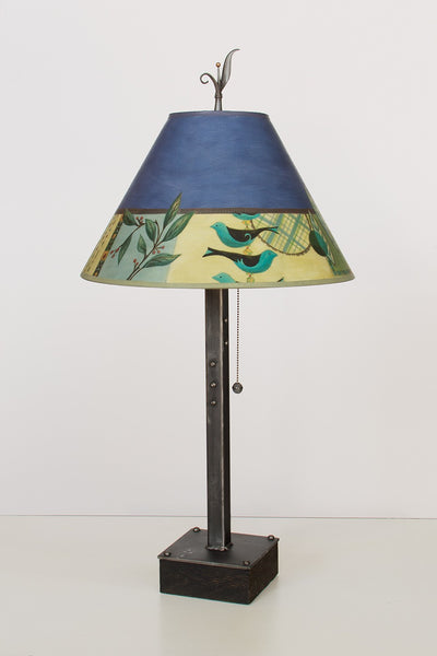 Steel Table Lamp on Wood with Medium Conical Shade in New Capri Periwinkle
