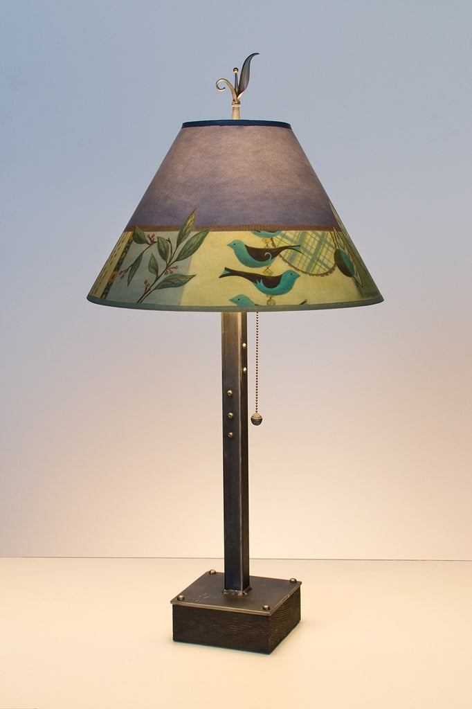 Steel Table Lamp On Wood With Medium Conical Shade In New Capri Periwinkle    True North