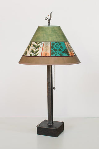"Steel Table Lamp on Wood Base with Large, Conical Shade in ""Spring Medley: Apple"" Design"