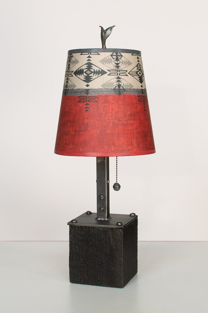 "Steel Table Lamp on Wood with Small Drum shade in ""Mesa"" - True North Gallery"