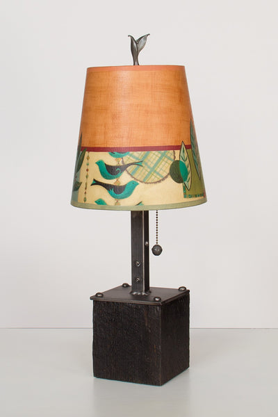 Steel Table Lamp on Wood with Small Drum Shade in New Capri Spice - True North Gallery