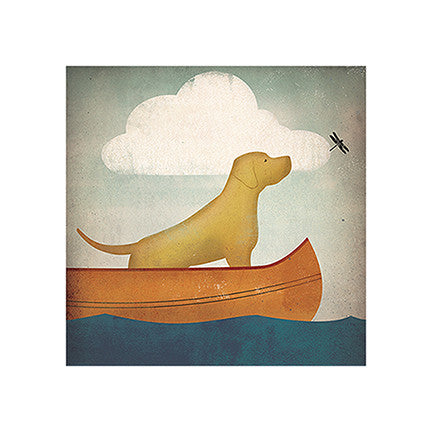 Yellow Dog in Canoe