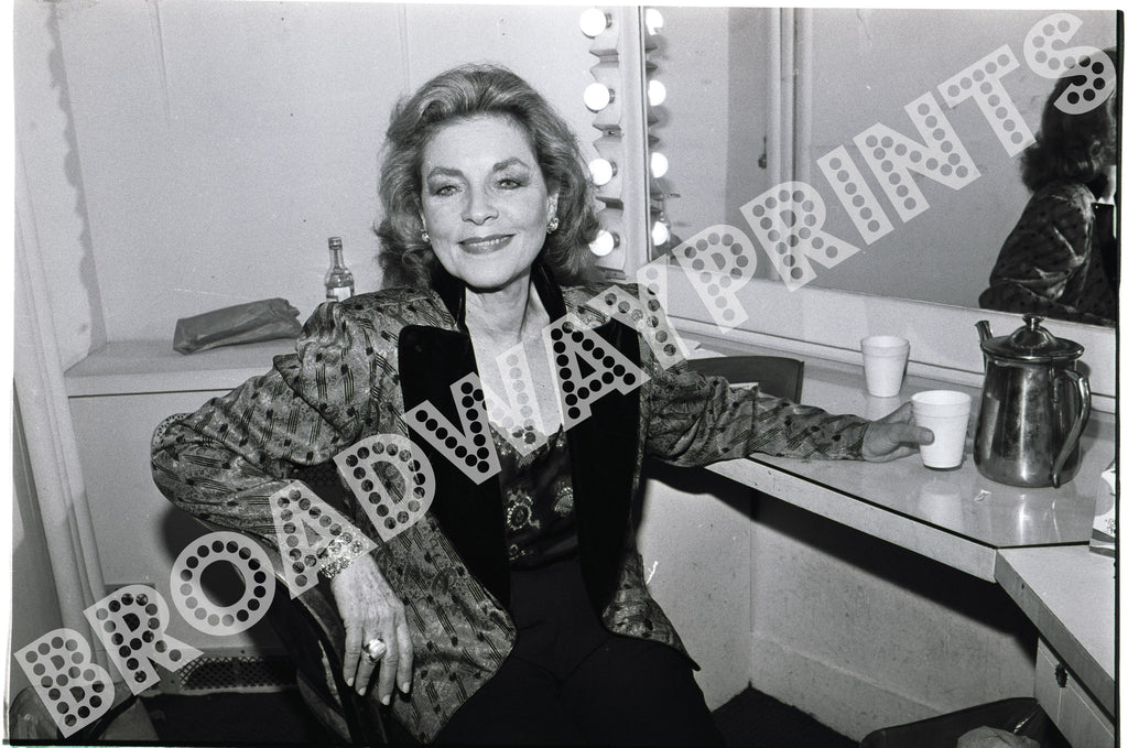 Lauren Bacall  backstage at American Academy of Dramatic Arts Gala 1987