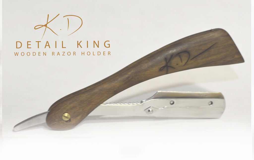 KD DETAIL KING wooden razor holder with Free Sigma Blade pack